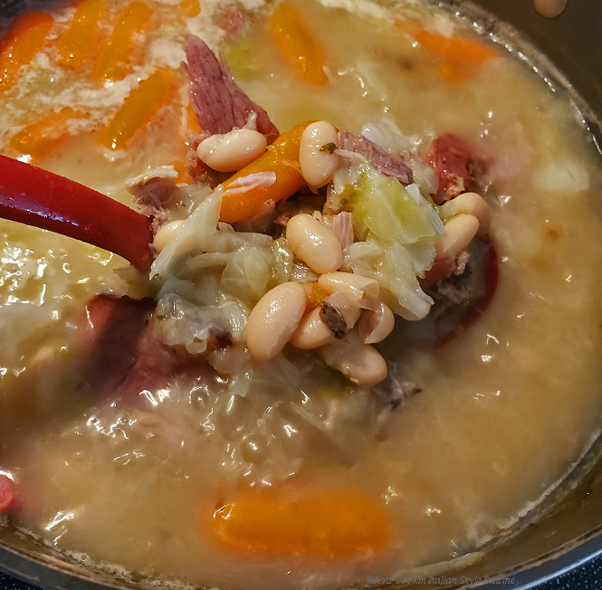 this is ham beans and cabbage soup