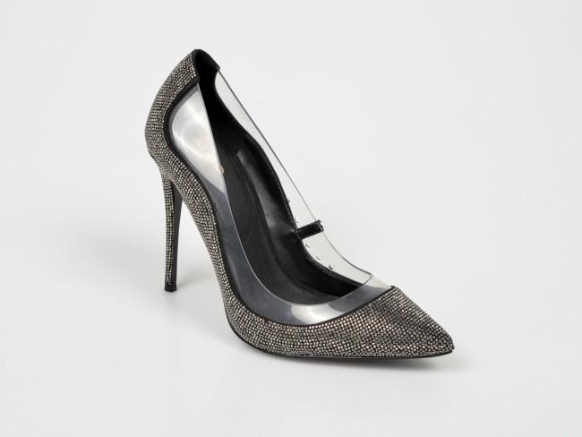 Pantofi negri cu strassuri eleganti de ocazii cu toc inalt