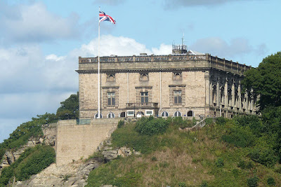 Nottingham Castle, now a museum, viewed from the south near   Nottingham railway station.