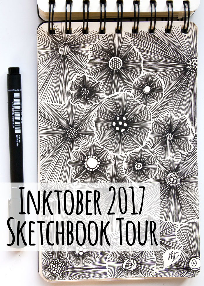 A Sketchbook tour for my inktober 2017 projects, video by Kim Dellow