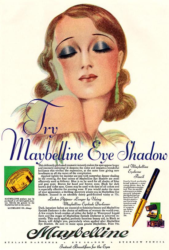 Maybelline eye shadow and eyebrow pencils ad 1929