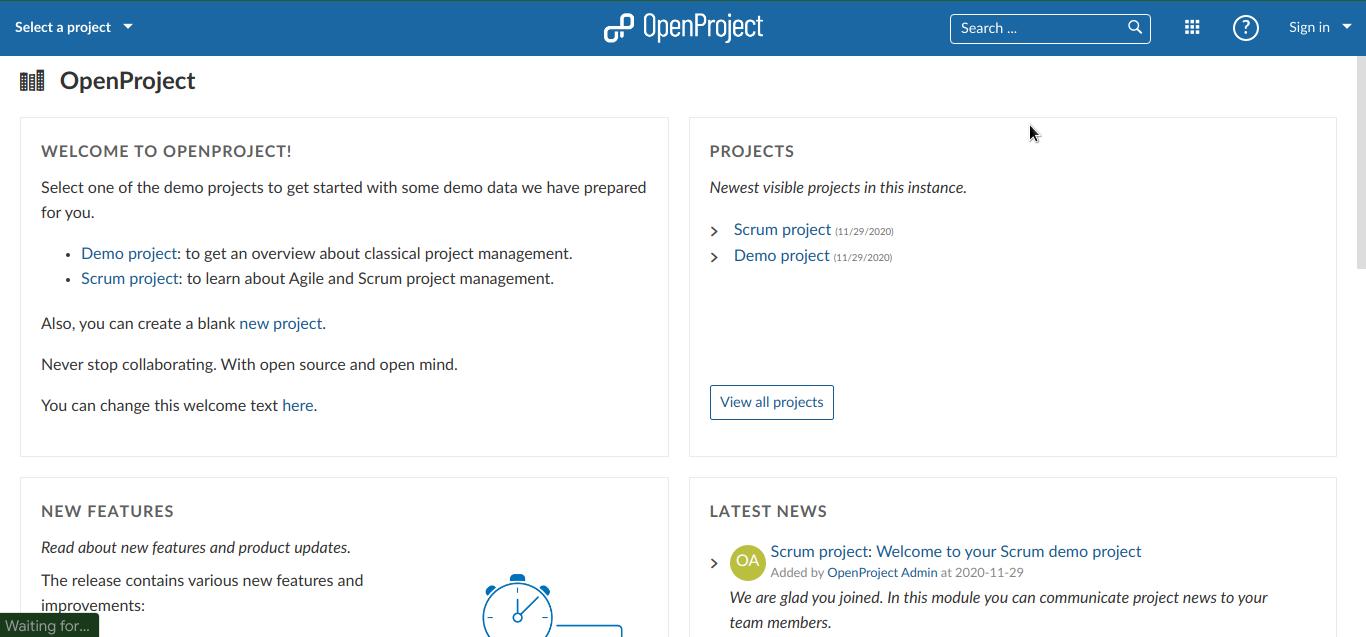 Tampilan awal OpenProject