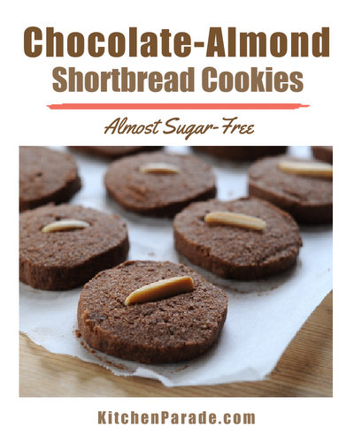 Chocolate-Almond Shortbread Cookies ♥ KitchenParade.com, crisp little chocolate shortbreads, easy to ship. Made with almond meal. Gluten Free, Low Sugar and Low Carb.