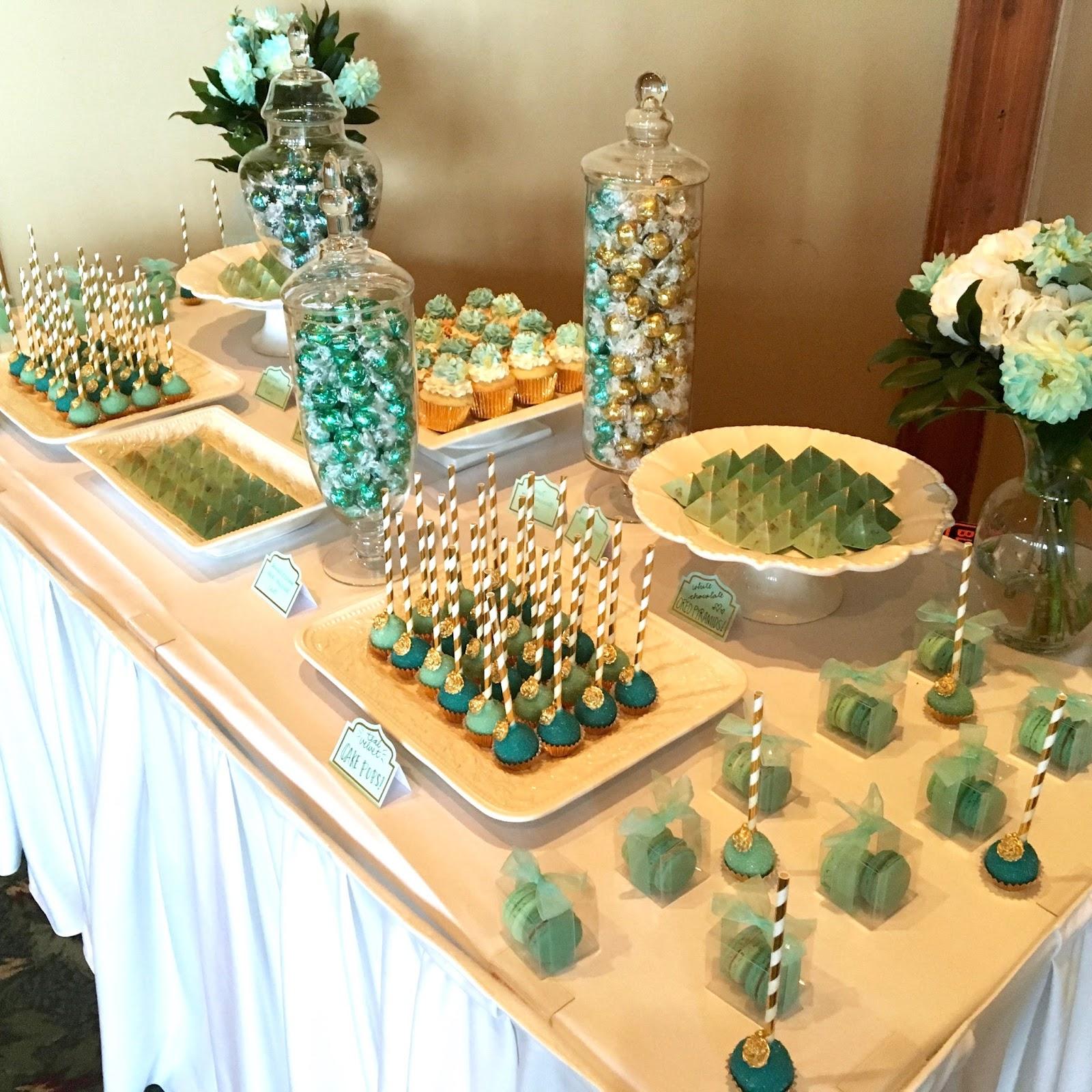 Teal, White & Gold Wedding Cake & Dessert Table | Crissa\'s Cake Corner!
