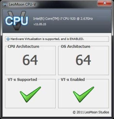 Untuk mengetahui apakah computer anda mendukung system VT, anda bisa gunakan software LeoMoon CPU V. LeoMoon CPU-v ini dapat mendeteksi apakah komputer kamu mendukung Hardare Virtualization yang mendukung windows 32 bit maupun 64 bit. Perangkat ini juga mendeteksi apabila Hardware Virtualization sudah diaktifkan di mode BIOS.
