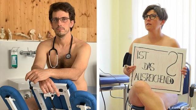 Γιατροί στη Γερμανία διαμαρτύρονται γυμνοί