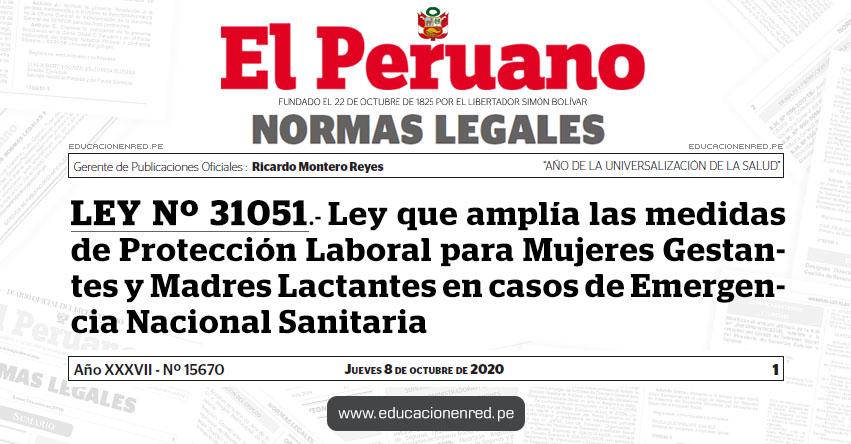 LEY Nº 31051.- Ley que amplía las medidas de Protección Laboral para Mujeres Gestantes y Madres Lactantes en casos de Emergencia Nacional Sanitaria