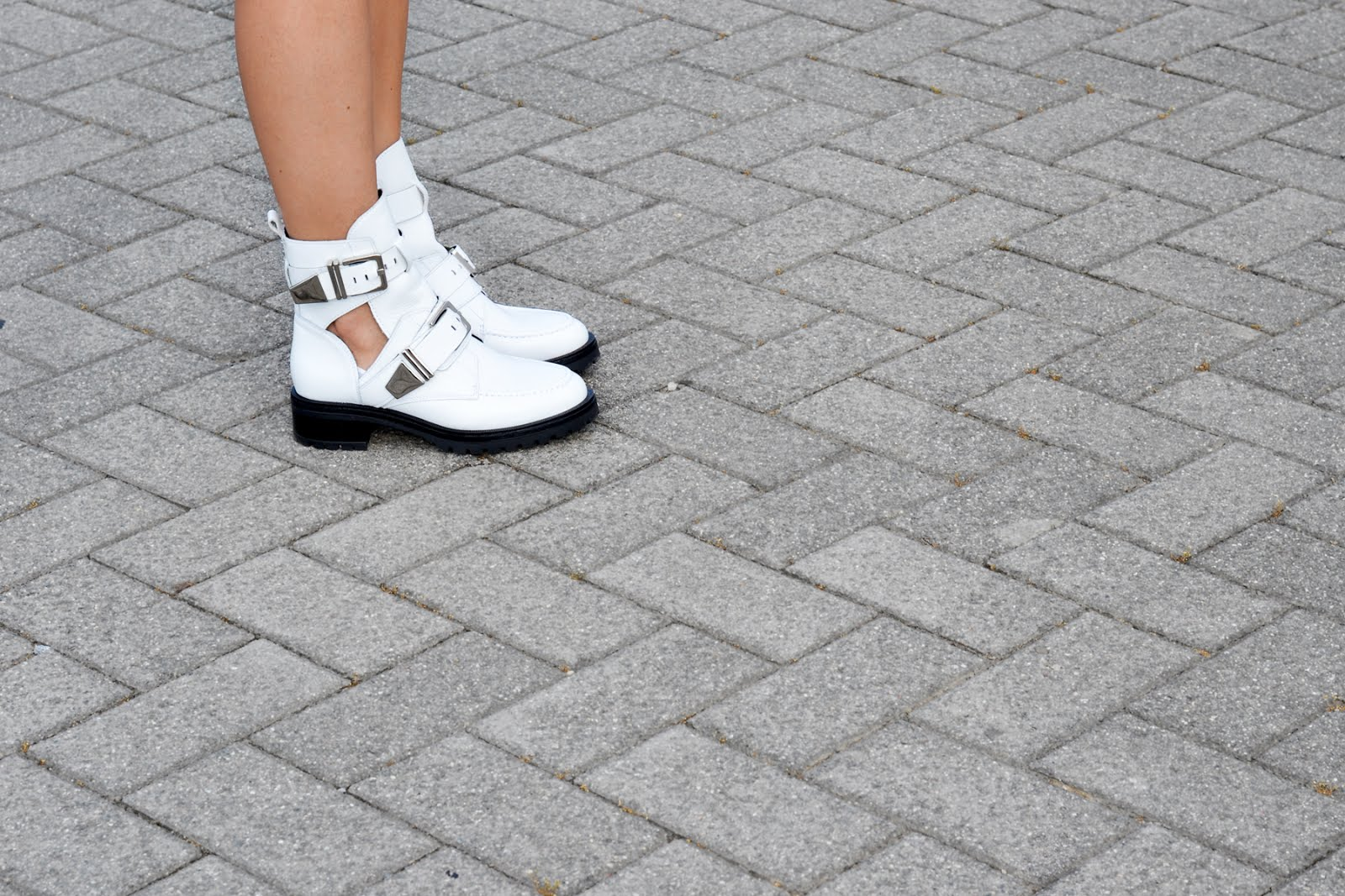 Festival look by Sacha shoes,  white buckle boots, Balenciaga inspired