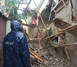 Three People Escape Death As Another Building Collapses In Lagos (Photos)