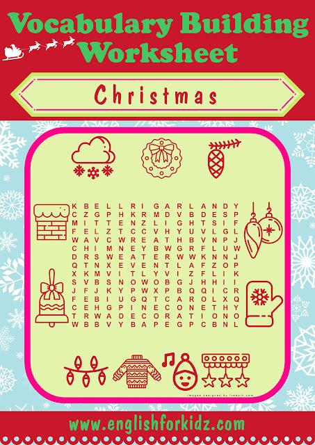 ESL Christmas word search printable worksheet