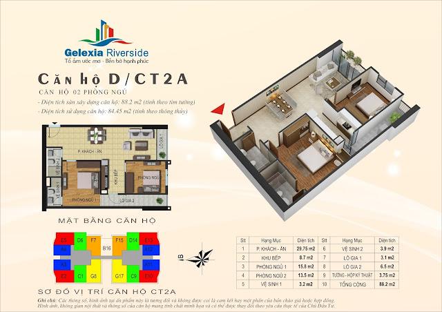 Mặt bằng căn hộ D tòa CT2A chung cư Gelexia Riverside