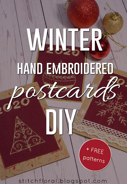 Winter hand embroidery postcards DIY