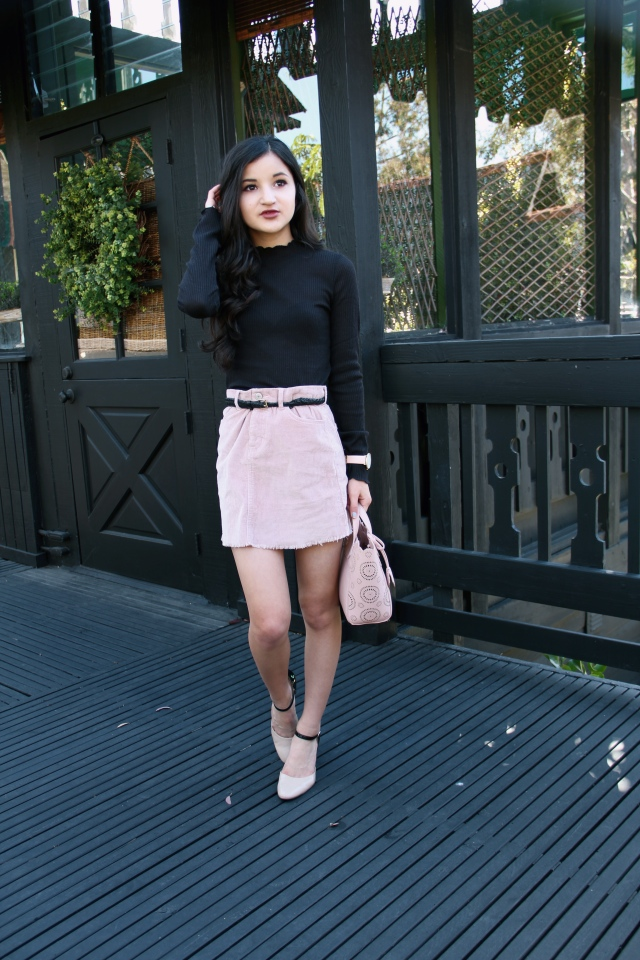blush pink brandy melville 1960's juliette corduroy mini skirt velvet outfit black turtleneck retro