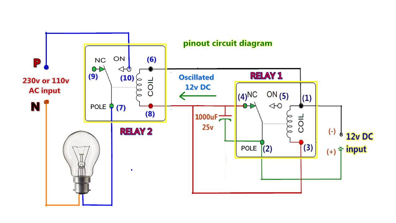 diy without ic ac chaser flasher oscillator blinking two lights using two 12v dc relays [ 1280 x 720 Pixel ]