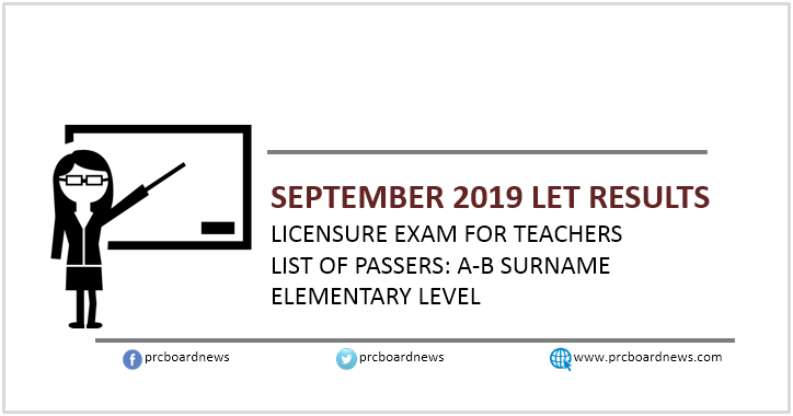 LIST: A-B Passers September 2019 LET Results Elementary