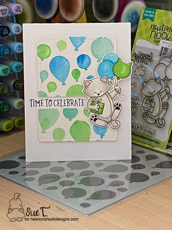 Time to celebrate by Sue T. features Balloons, Newton's Birthday Balloons, and Frames & Flags by Newton's Nook Designs; #newtonsnook, #inkypaws, #birthdaycards, #cardmaking