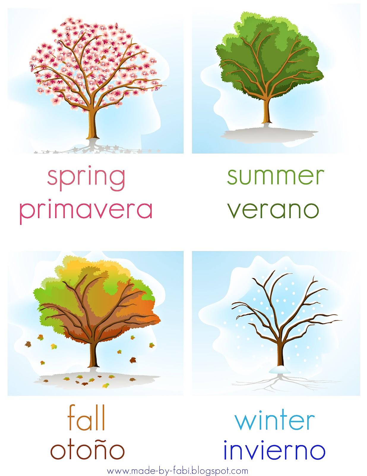 Bilingual Seasons Of The Year Printable