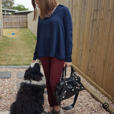 awayfromtheblue Instagram   burgundy skinny pants with Target navy collared blouse with balenciaga part time bag