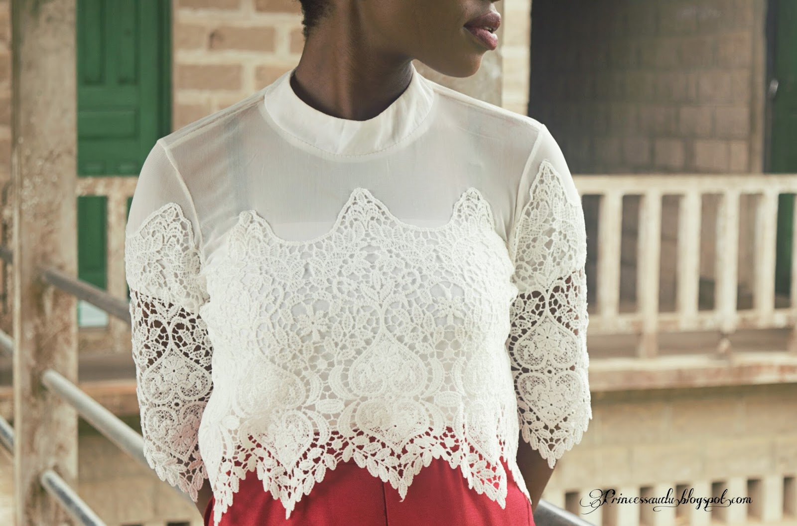 Romwe, white, lace, summer, crop top, Calabar, Cross River State