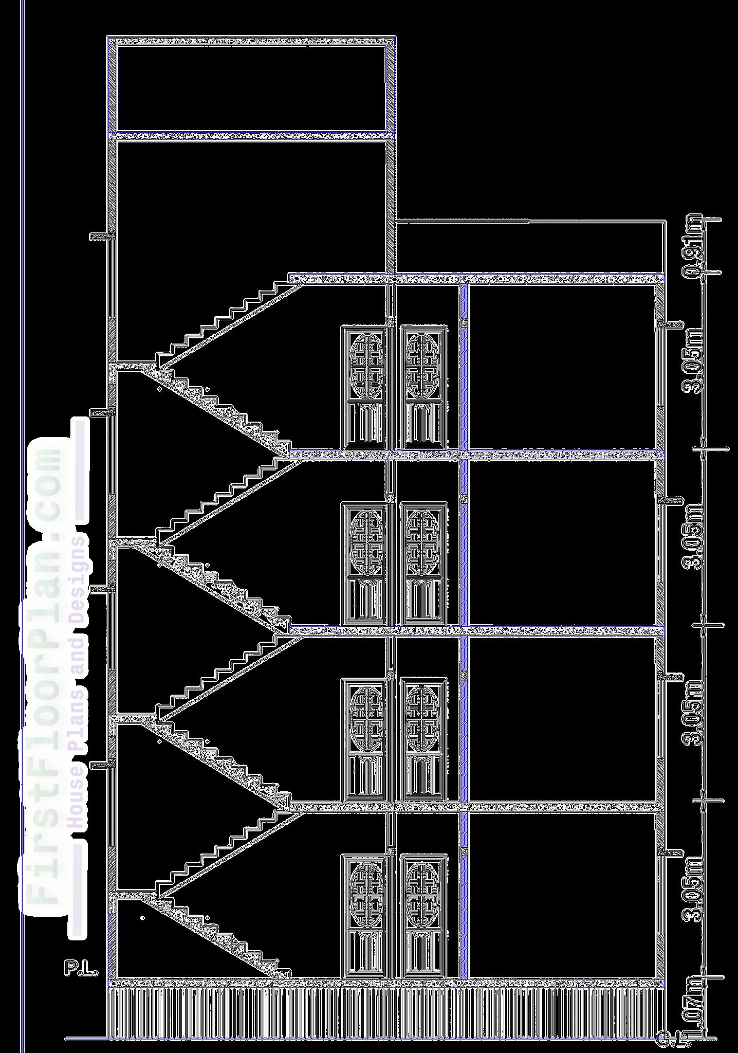Four storey building Section Autocad file