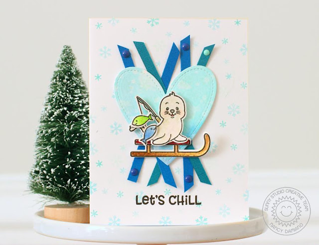 Sunny Studio Stamps: Polar Playmates Winter Themed Let's Chill Card by Nancy Damiano