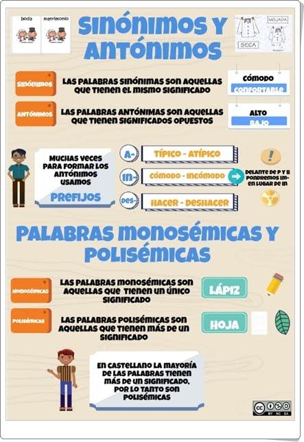 VOCABULARIO: TIPOS DE PALABRAS SEGÚN SU SIGNIFICADO (Infografía de Lengua Española de Primaria)