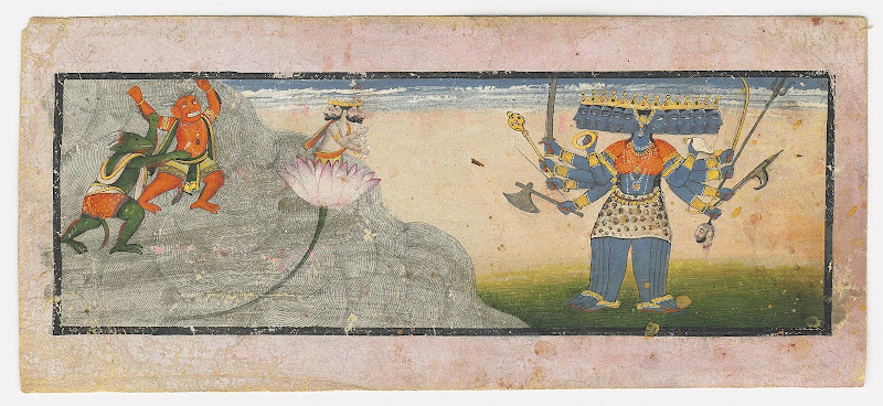 A Folio from a Devi Mahatmaya Series, Madhu and Kaitabha with Brahma - Kangra Painting, Circa 1780