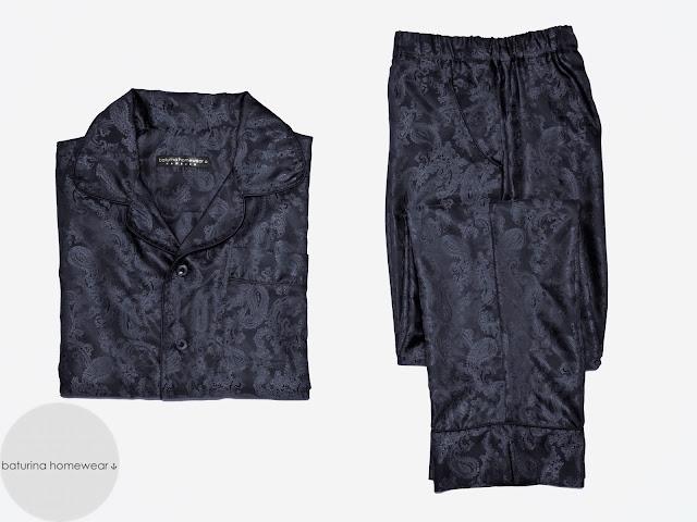herren schlafanzug seide dunkelblau edel elegant pyjama paisley luxus herrenpyjama klassisch stilvoll exklusiv