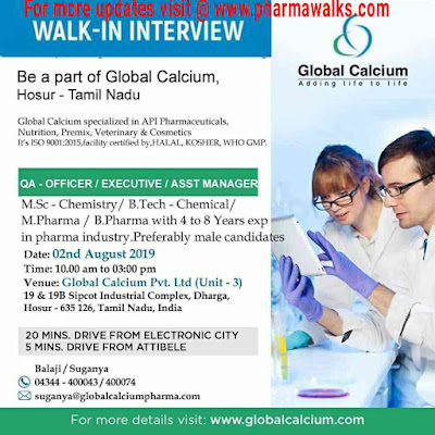 Global Calcium - Walk-in interview for Quality Assurance on 2nd August, 2019