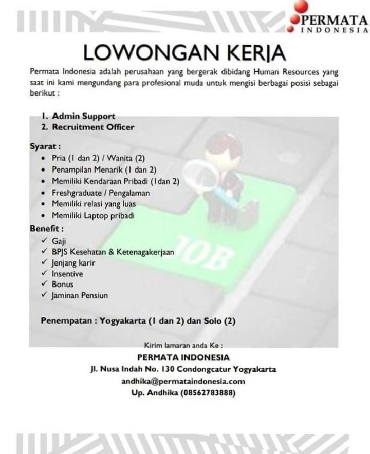 Lowongan Kerja Admin Support Recruitment Officer Di Permata Indonesia Penempatan Solo Dan Jogja Bursa Lowongan Kerja
