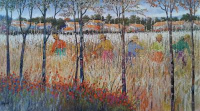 """""""A luz da colheita"""", de 2018, foi o quadro que escolhemos para enriquecer o nosso acervo, pela identificação com as influências do Impressionismo de Claude Monet e Van Gogh."""