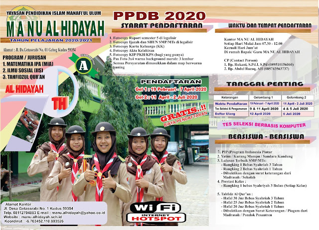 Penerimaan Peserta Didik Baru MA NU Al-Hidayah Kudus 2020/2021