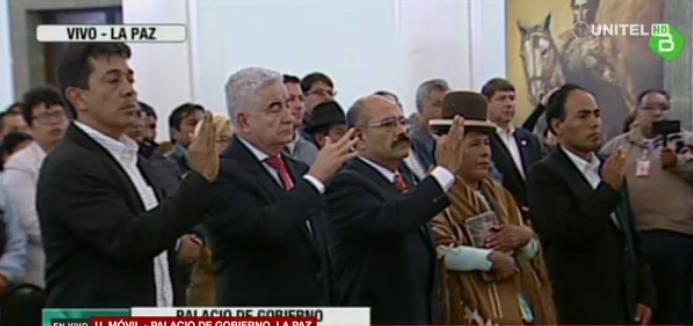 Zamora, Rojo, Cruz, Yujra y Navarro jurando a sus cargos / CAPTURA PANTALLA