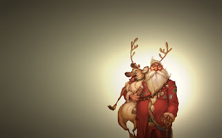 funny cartoon image of Christmas Santa with reindeer - 1920x1200