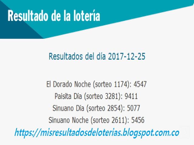 Como jugo la lotería anoche | Resultados diarios de la lotería y el chance | resultados del dia 25-12-2017