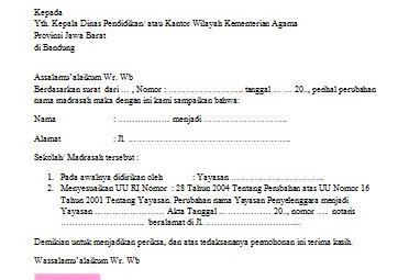 Surat Permohonan Mengganti Nama Sekolah/ Madrasah