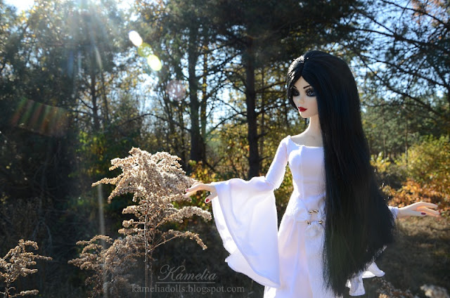 White fantasy gown for doll