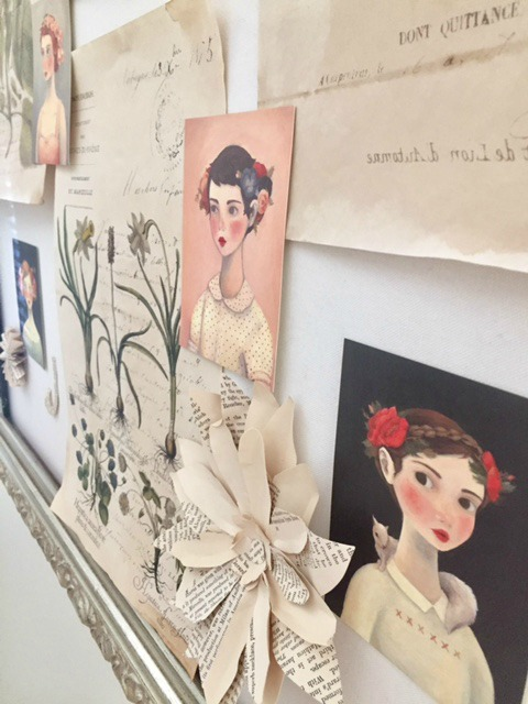 Linen inspiration board with botanical prints and handmade art by Hello Lovely Studio