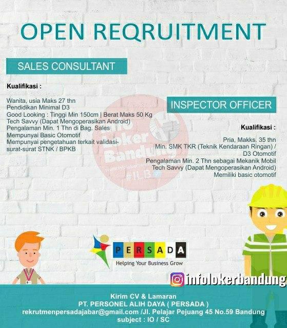 Lowongan Kerja Sales Consultant & Inspector Office Persada Bandung Juni 2020