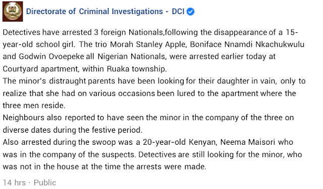 Three Nigerians Arrested in Kenya after a 15yr old girl was found missing