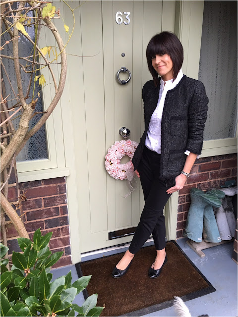 My Midlife Fashion, Zara Boucle Jacket, Cigarette Pants, Quilted Ballet Pumps, Alice Temperley Pleated Ruffle Blouse