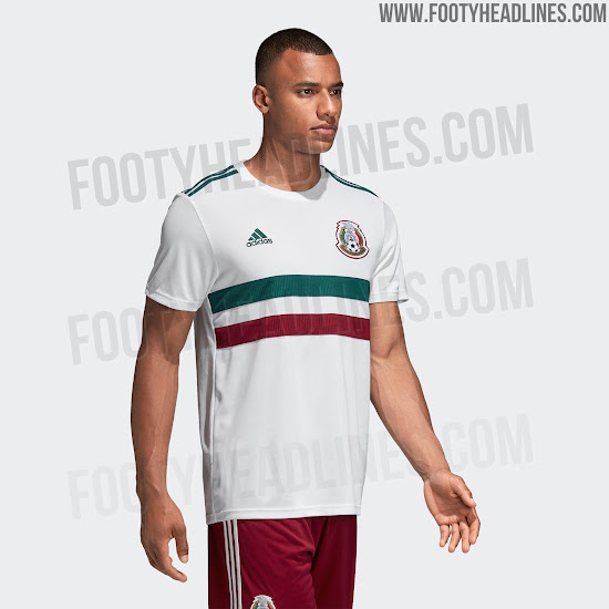 ... the Mexico 2018 World Cup away jersey is predominantly white with a  red c930db8e2a33
