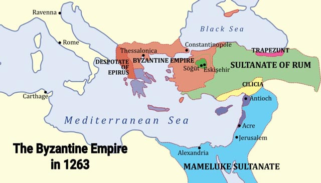 Michael VIII's restored empire in 1263 byzantium.filminspector.com