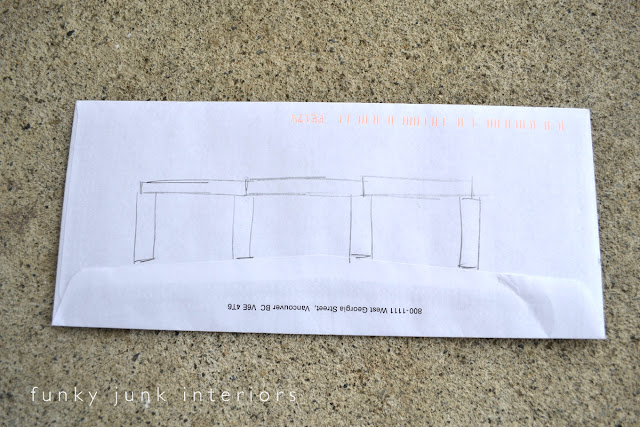 Drawing plans to make a pallet farm table desk - learn how I did it here!