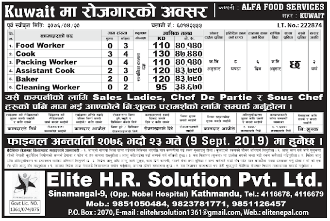 Jobs in Kuwait for Nepali, Salary Rs 43,790