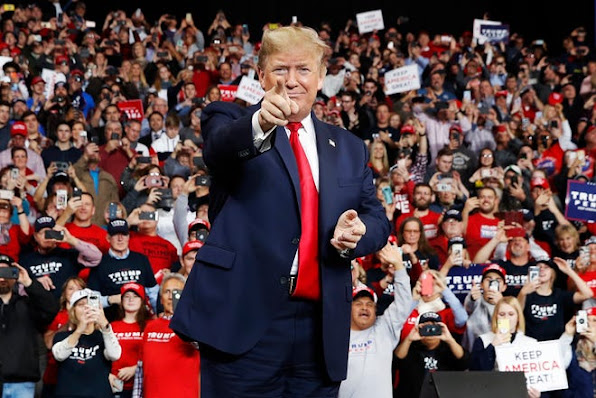 President Donald Trump campaigns in Toledo, Ohio, on Jan 9, 2020