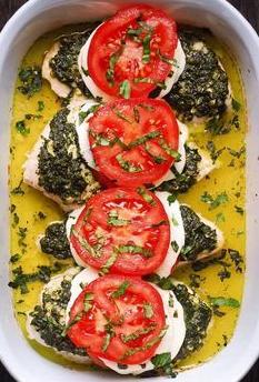 Basil Pesto Tomato Mozzarella Chicken Bake