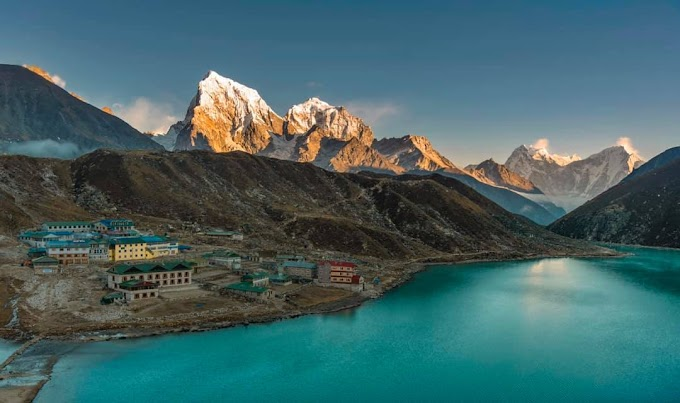 Sacred lake of Gokyo and the Gokyo village