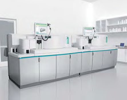 Chemistry analyzers can be bench-top devices or placed on a cart; other systems require floor space