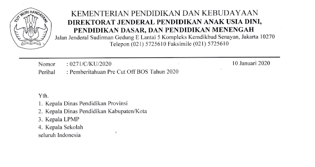Surat edaran penyaluran BOS 2020